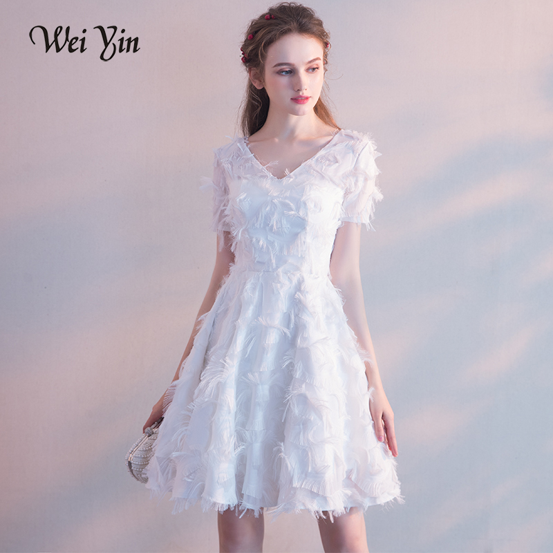 WEIYIN White Elegant Short Evening Dresses Lace V Neck A-Line Cheap Zipper  Up Cocktail Party Prom Dresses Robe De Soiree fa897e341462