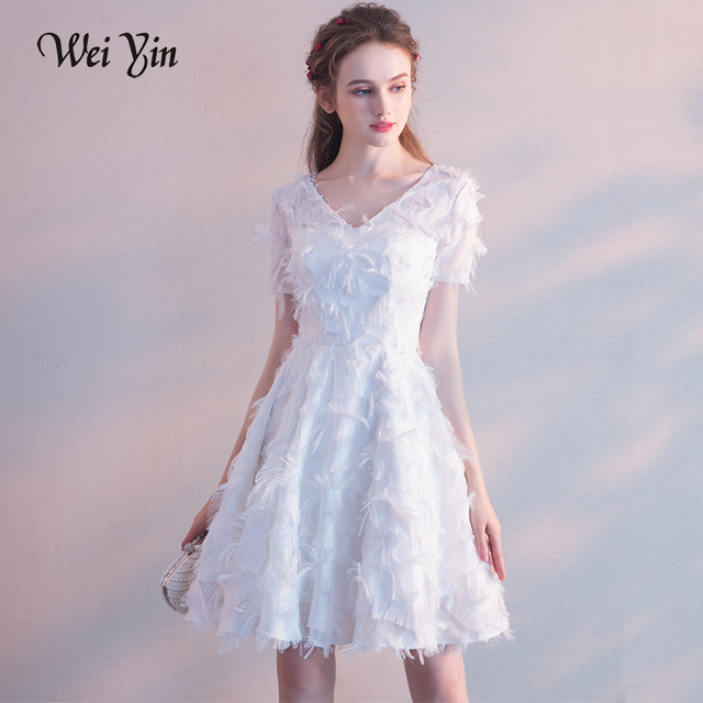 WEIYIN White Elegant Short Evening Dresses Lace V Neck A Line Cheap ...