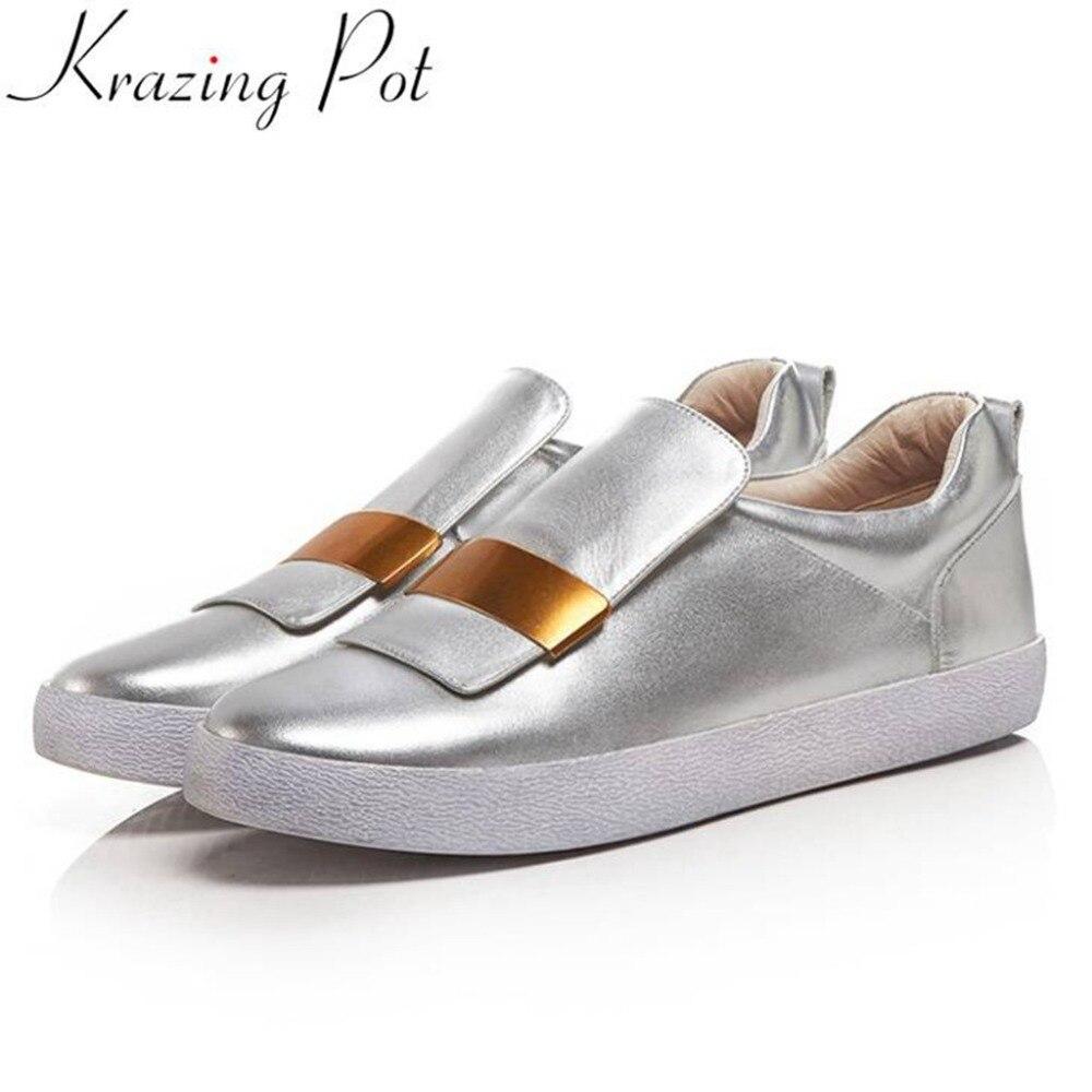 Zapatillas de deporte de decoración de metal de diseño conciso de maceta de cuero genuino cómodos mocasines de uso diario zapatos vulcanizados L66-in Zapatos vulcanizados de mujer from zapatos    1