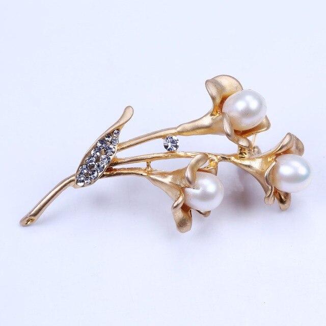 2016 Новый дизайн петуния брошь pin позолоченные перла rhinestone брошь для женщин