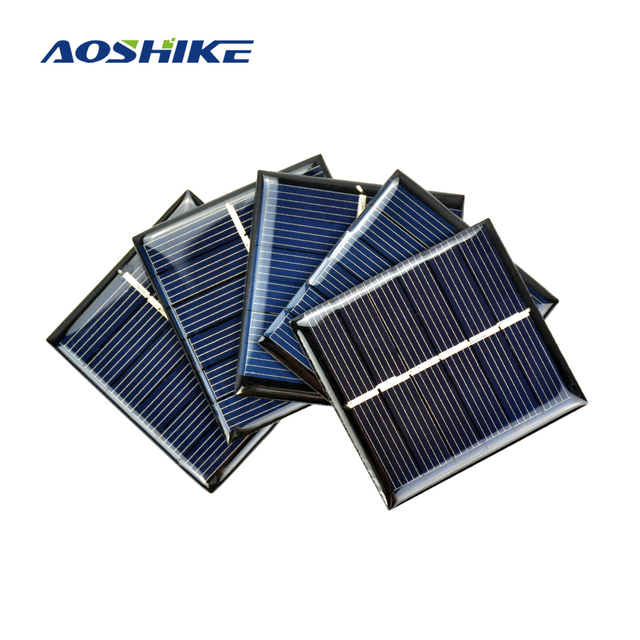 Aoshike 10Pcs DIY Solar Panels Photovoltaic Solar Cells Power Charger Solars Epoxy Plate 60 x 55 3V 120MA