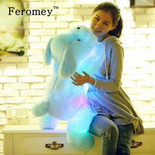 35/50 cm Kawaii Bercahaya Teddy Dog Plush Doll Toys Colorful LED Glowing Puppy Dog Stuffed Mainan Anak Anak Hadiah Ulang Tahun
