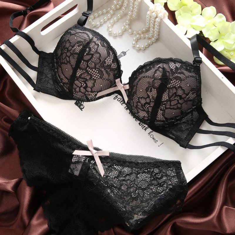 Buy Sexy Lace Women Bra Set Three Quarters Underwire Bra See-through Bowknot Lace Panty B Cup