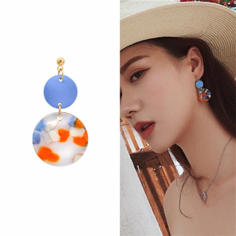 New Asymmetrical Wafer metal Earrings Women Fashion Korean Temperament Earring Long Personality Ear Jewelry Exquisite