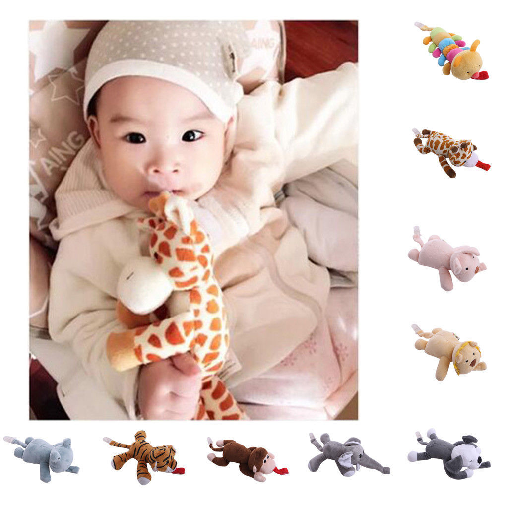 Emmababy 2019 Baby Girl Boy Dummy Pacifier Chain Clip Animal Soft Toys Plush Nipple Holders
