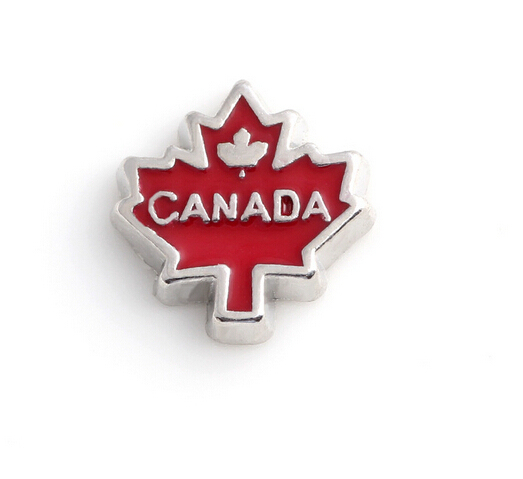 Hot Sell Zinc Alloy Canada maple leaf Charms for Glass Living Lockets