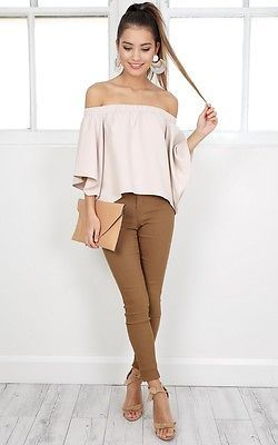 Sexy Women Blouse Off Shoulder Long Sleeve Casual Shirt Tops Snash Neck