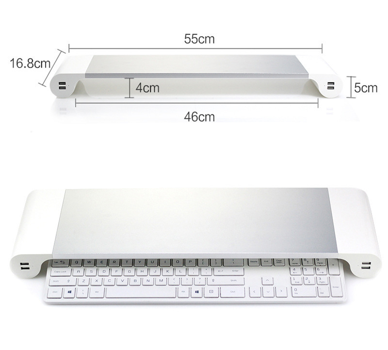 Aluminum Monitor Stand Space Bar With Keyboard Storage for Laptop iMac MacBook Air Pro Stand Holder Dock Desk 4 Port USB charger