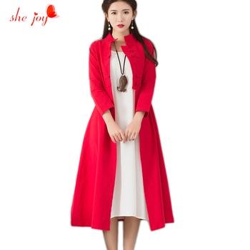 Chinese Ethnic Women Long Dress Retro Loose Linen Cotton Female Clothings Vestido Elegant Stand Collor Bloused Dresses