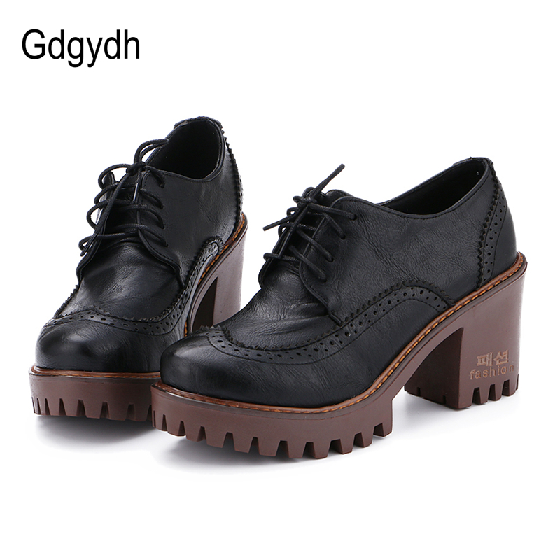 Gdgydh Lace Up Women Shoes Pumps 2017 New Spring Round Toe Female Casual Square High Heels School Shoes Platform Woman Size 43 new spring women casual platform shoes lace up round toe black pink white casual shoes women comfortble ladies shoes size 33 43