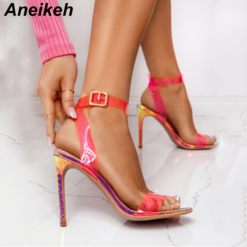 Aneikeh 2019 Classic PU Transparent Thin High Heel Buckle Strap Sandals Women Round Toe Clear Women Shoes Party Fluorescent RedAneikeh 2019 Classic PU Transparent Thin High Heel Buckle Strap Sandals Women Round Toe Clear Women Shoes Party Fluorescent Red