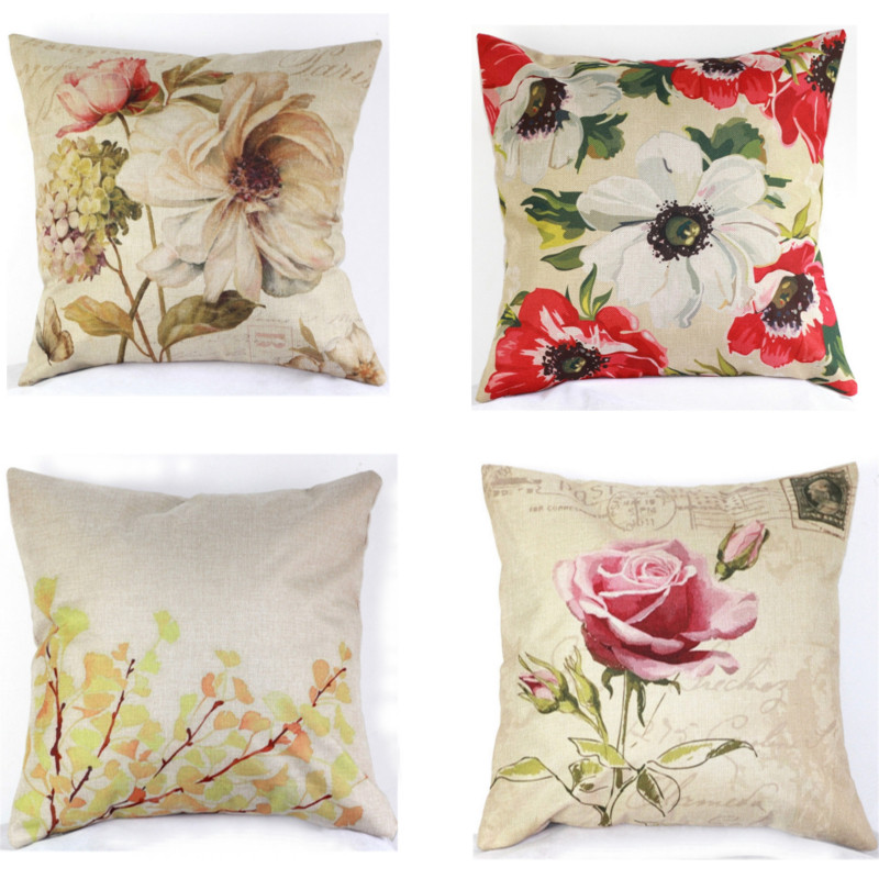5 Patterns Pillow Case Cover Vintage Floral Home Cotton Linen Living Room Bed