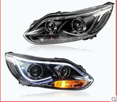 Automobile 2 P Led Hid Headlights Headlamp Lamp Auto Angel Eye Optical Double Lens Xenon Headlamps For Ford Focus