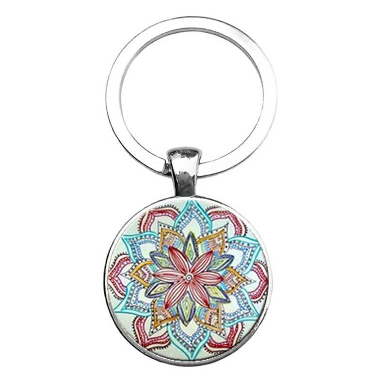 Mandala LLAVERO KEYRING LLAVERO geometría sagrada Joyería Colgante de cristal de arte WY