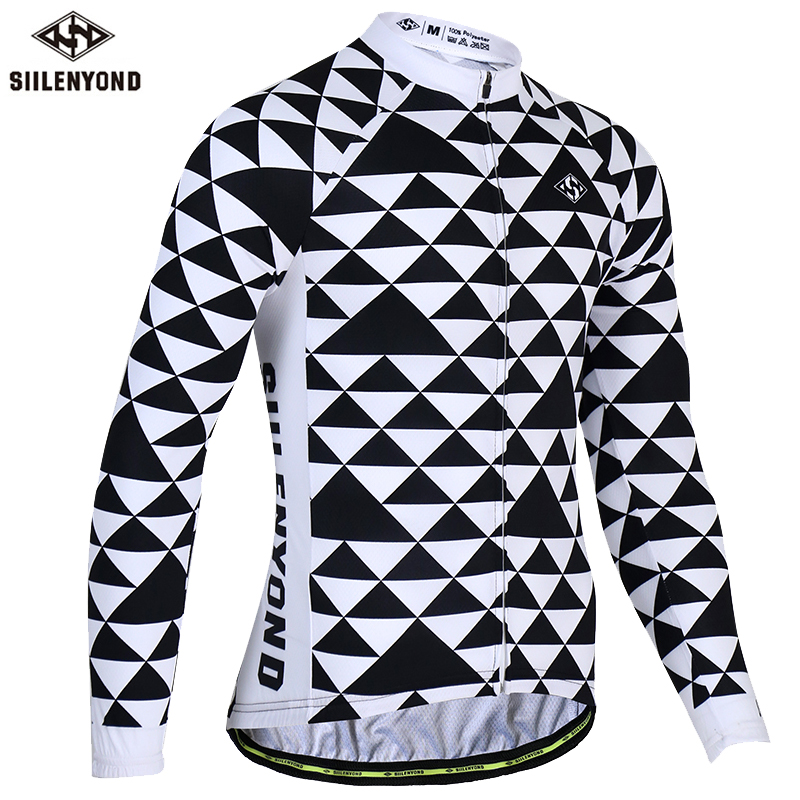 SIILENYOND Spring 100% Polyester Cycling Jerseys Long Sleeve Bike Wear Bicycle Clothing Sportswear Maillot Ropa Ciclismo