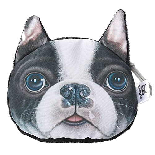2Pcs Cute Lovely 3D Dog Face Zipper Case Coin Girl Purse Wallet Makeup Bag Pouch