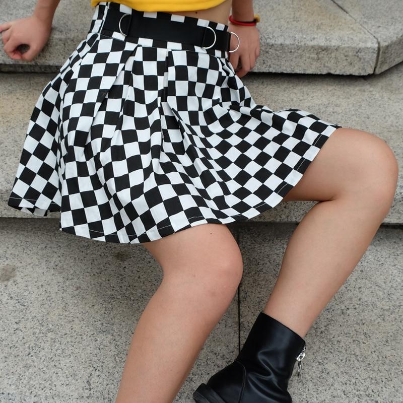 8Sweetown Korean Fashion Checkerboard Pleated Skirts Womens Sashes High Waist Zipper Cotton Short Skirt Woman Summer 2018 Skirts
