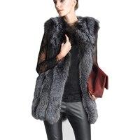2019 autumn winter vest women Slim silver fox fur vest Middle long fur coat Fur Vest Coat Faux Fox Fur Warm Women Coat Vests