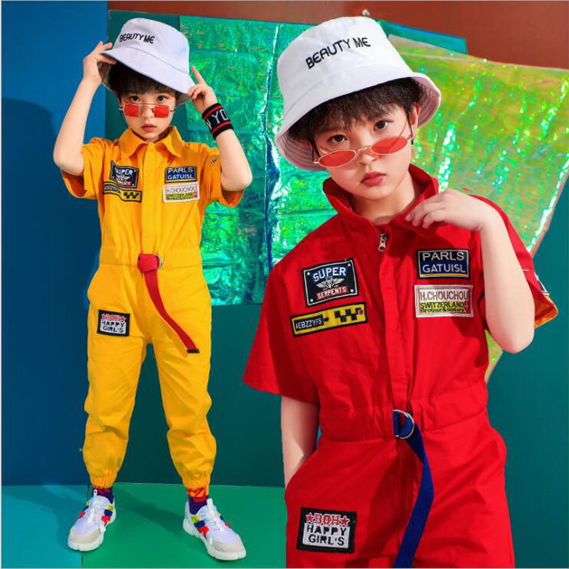 Kids Concert Jazz Dance Costume Boys Overalls Hip Hop Stage Wear Outfits Street Dancing Wear Coverall Performance Clothes Suit