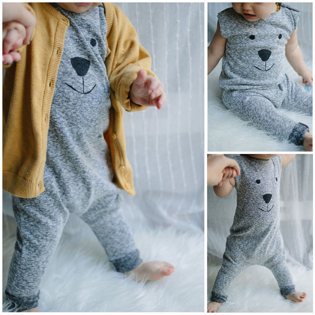 76309df54 2018 New Baby Girl Boy Bear Cotton Jumpers Rompers Playsuit ...
