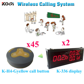 Wireless Calling System Hot Selling Call Bell Button Pager Restaurant Waiter Buzzer Ycall 433mhz ( 2 display 45 call button)