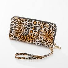 KANDRA Leopard Wallet 2019 Fashion New Leather Wristlet Clutch Animal Print Zipper Purse Card Holder Phone Case Wholesale