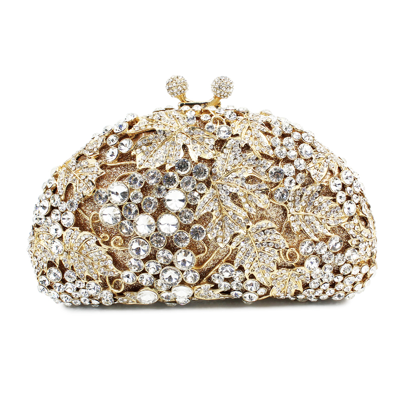 grape gold pattern  evening bag crystal clutch evening bag  (8180A-GS)grape gold pattern  evening bag crystal clutch evening bag  (8180A-GS)