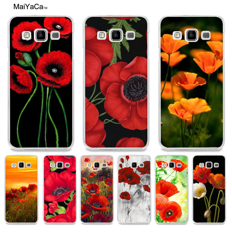 MaiYaCa Red Poppies On Black Painted cover Style Phone Case for Samsung A5 A3 A7 2016 A8 A9 2015 Note 3 Note 4