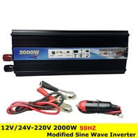 Professional 2000W Car Inverter DC 12V 24V To AC 220V Power Inverter Charger Converter Transformer Vehicle