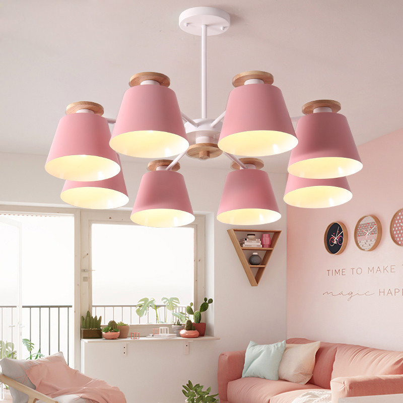 LED Chandeliers For Living Room bedroom Lighting grey/green/blue/yellow/pink body Wooden Hanging Light Lampshade Kitchen Lights modern crystal chandelier led hanging lighting european style glass chandeliers light for living dining room restaurant decor