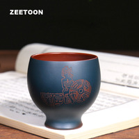 150cc Authentic Yixing Teacup Double Color Engraving Master Cup Zisha Tea Bowl Purple Clay Health Care Chinese Kung Fu Tea Set