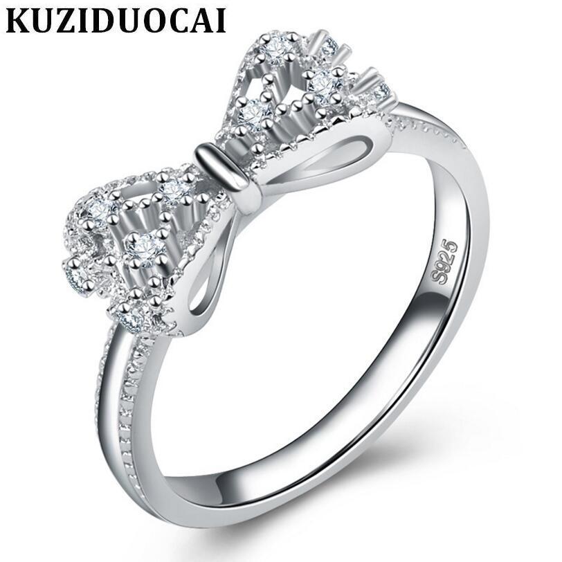 8d60c86c6 Kuziduocai New Fashion Jewelry Stainless Steel Zircon Bow-knot Wedding Rings  For Women Gifts Anillo