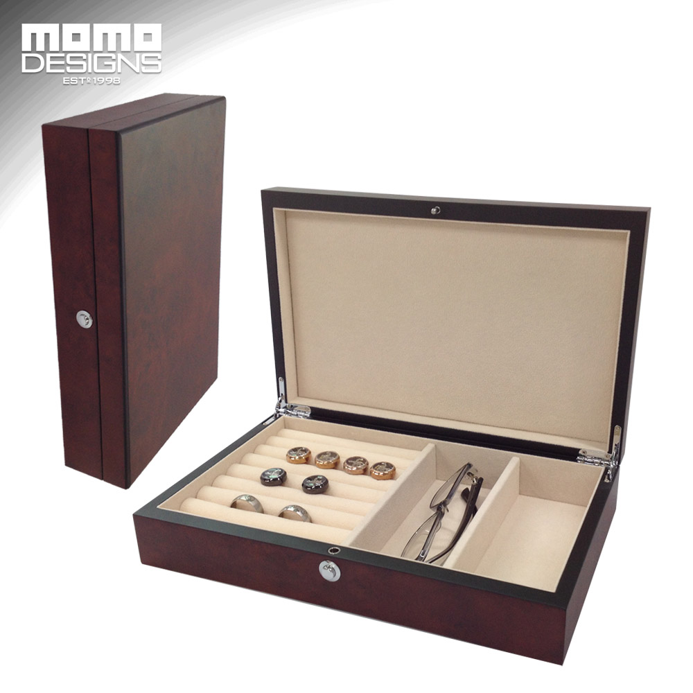 New style wooden cufflink and Ring box storage Burlwood Jewelry collection case Sunglasses box wood packaging spark storage bag portable carrying case storage box for spark drone accessories can put remote control battery and other parts