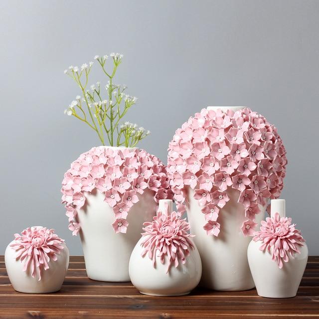 Handmade Pinch Hot Pink Vase Modern Embossed Ceramic Flower Vase