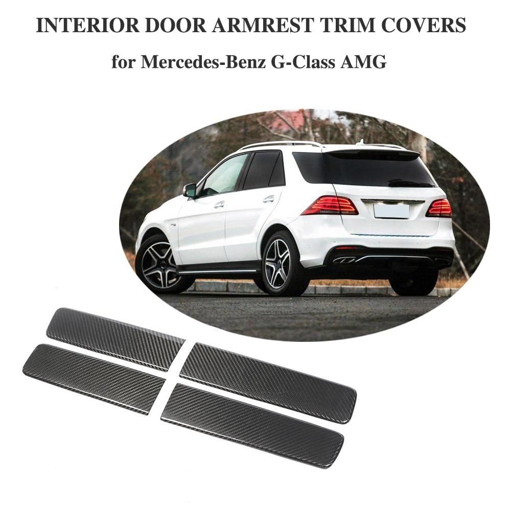 Carbon Fiber Car Door Panel Cover Trim 4pcs For Mercedes Benz G class G550 AMG Car Accessories Interior Door Decoration