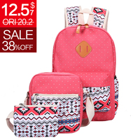 3 Pcs Set Fashion Canvas Printing Backpack Women School Bags For Teenage Girls Cute Book Bags
