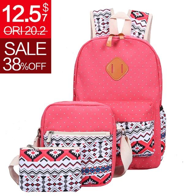 3 Pcs/Set  Fashion Canvas Printing Backpack Women School Bags for Teenage Girls Cute Book bags Laptop Backpacks Female