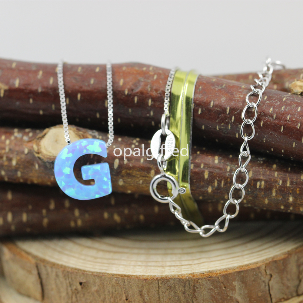 In stock 1pc lot Wholesale Price Free Shipping 9 10mm Synthetic Opal Letter G opal necklace