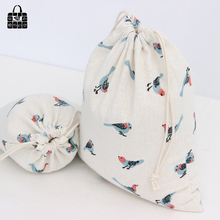 1 pcs sparrow printed cotton linen fabric bag receive girl women lady Sundry storage bag, kids toy Mobile phone
