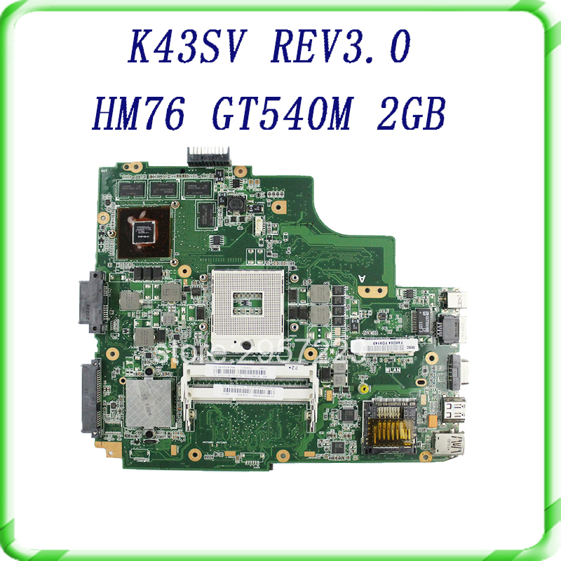 Laptop motherboard For Asus K43SV K43SJ A43S X43S Main board HM76 N12P-GS-A1 REV3.0 GT540M 2GB USB3.0 DDR3 VRAM 100% fully test прыгунки  ходунки и качели