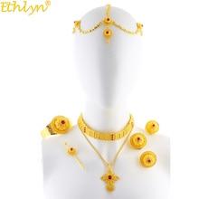 Ethlyn biżuteria nowe złote kolor luksusowe etiopski erytrei Rhinestone krzyż wisiorek biżuteria ślubna zestawy Habesha prezenty S205