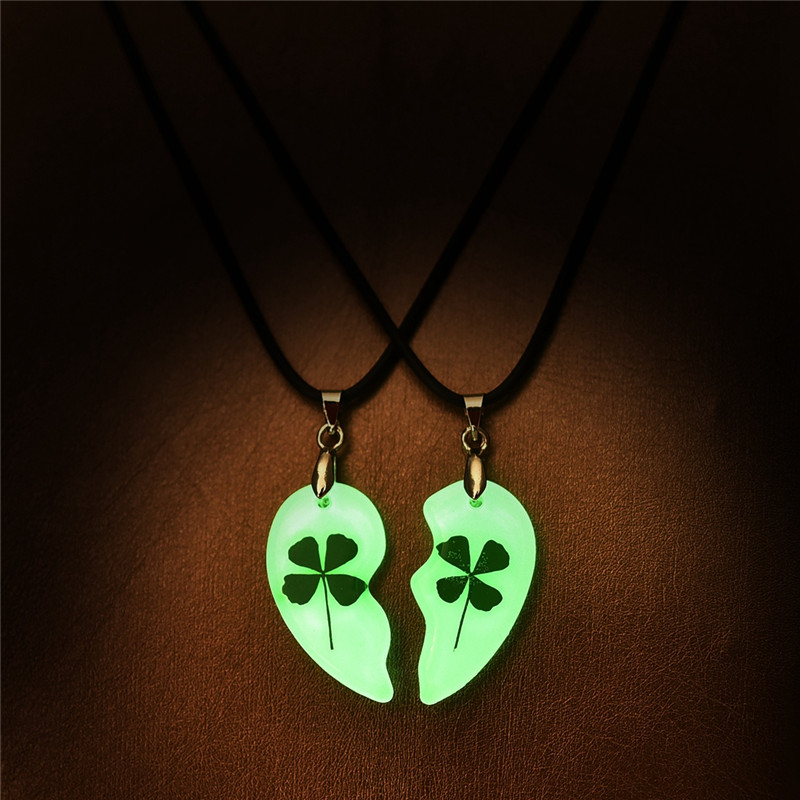 YAKAMOZ Clover Luminous Couple Necklace 2pcs Heart Shape Pendant Necklace Glowing In The Dark Lovers Jewelry Long Chain