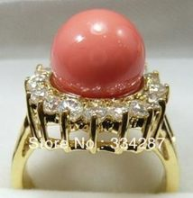 10mm pink sea shell pearl gold color 18k GP crystal Ring Size :7 8 9 A1012(China)