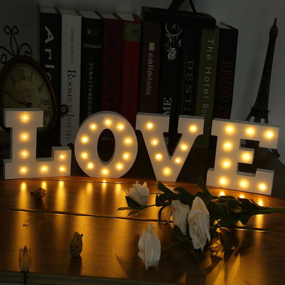 2017 wooden 26 letters led night light festival lights party bedroom lamp wall hanging photography wedding