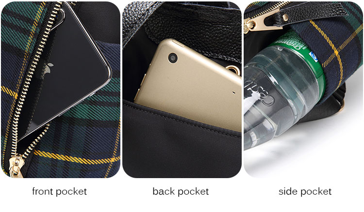 plaid women backpacks genuine leather travel backpack for lady brand shoulder bags (1)