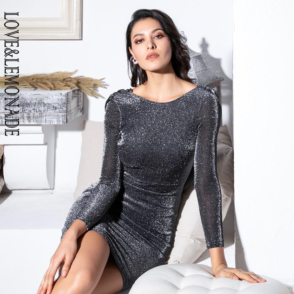 Love Lemonade Sexy Black Open Back Streamer Decoration Glitter Elastic Fabric Bodycon Long Sleeve Dress LM81728