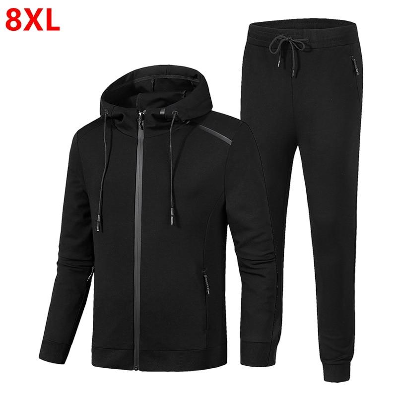 Plus Size Spring Loaded Large Size Suit Plus Size Solid Color Thin Tourism Men's Sets 8XL 7XL 6XL 5XL 4XL Jogging Men's Clothing