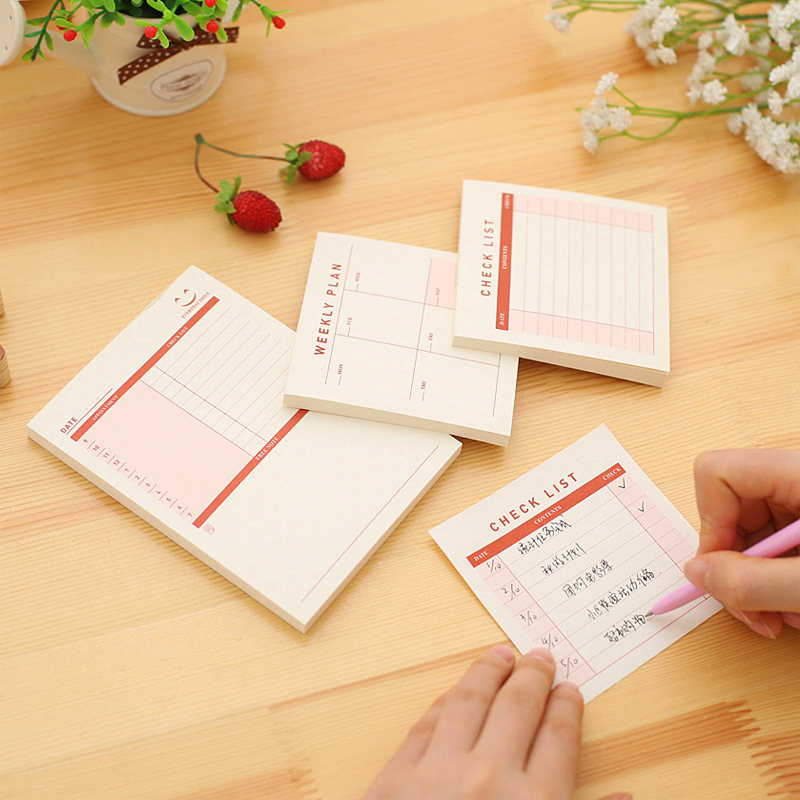 Korean Weekly Monthly Cute Memo Pads Stationery Store Post it Office Sticky Note Checklist Items Week Day Plan Sticker Accessory