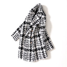 Women elegant long jacket office tweed double breasted woolen thick winter outer