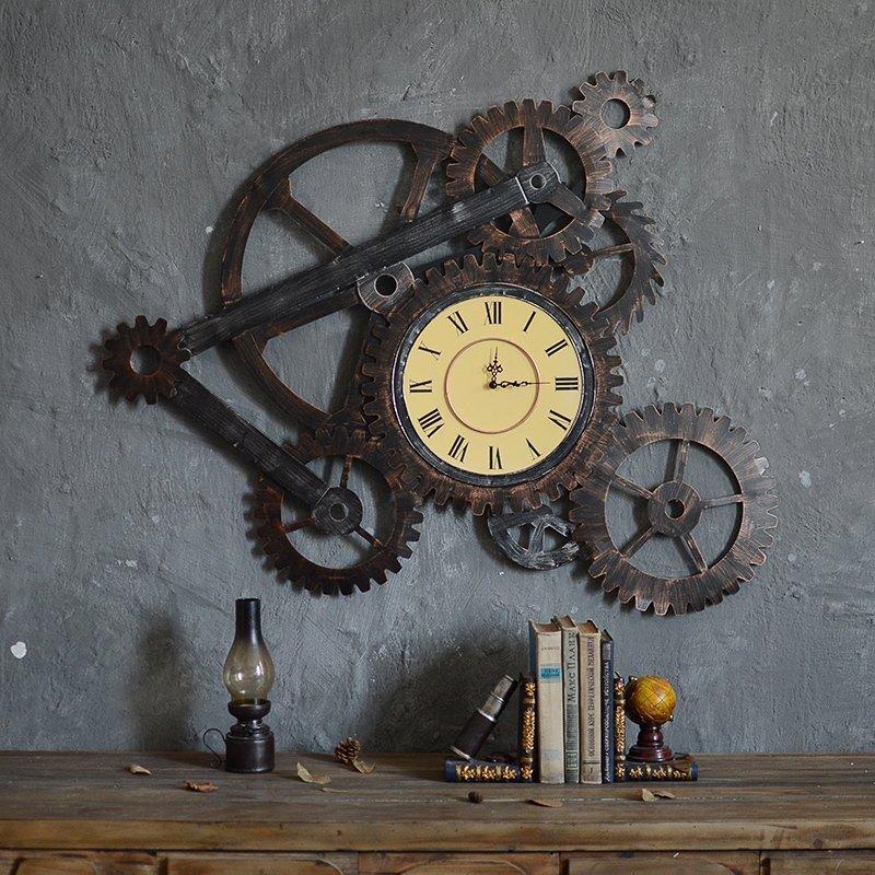 3d large wall clock iron retro decorative wall clock big art